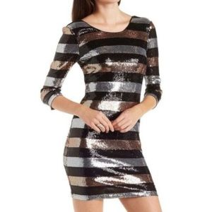 Charlotte Russe Stripe Sequin Party Dress